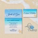 Nyári Esküvői Meghívó, Tengerparti meghívó, Nyári esküvő, Nyaralás, tengerpart, tenger, tengericsillag, kék, türkiz, Esküvő, Naptár, képeslap, album, Meghívó, ültetőkártya, köszönőajándék, Képeslap, levélpapír, Minőségi  Esküvői  Meghívó  * * MEGHÍVÓ CSOMAG BORÍTÉKKAL: - 1. Meghívó lap, egy oldalas: 10cm x 14c..., Meska
