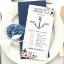 Nyári Elegáns Balatoni Esküvői meghívó, Nyári Esküvő, Tenger kék, virágok, virágos, balaton, Modern, Esküvő, Naptár, képeslap, album, Meghívó, ültetőkártya, köszönőajándék, Esküvői dekoráció, Minőségi Virágos Esküvői  Meghívó  ** MEGHÍVÓ BORÍTÉKKAL ** - Meghívó lap, egy oldalas: hátulja üres..., Meska