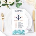 Nyári Elegáns Balatoni Esküvői meghívó, Nyári Esküvő, Tenger kék, virágok, virágos, balaton, Modern, Esküvő, Naptár, képeslap, album, Meghívó, ültetőkártya, köszönőajándék, Esküvői dekoráció, Minőségi Esküvői Virágos Meghívó Rózsa  ** MEGHÍVÓ BORÍTÉKKAL ** -  Meghívó lap, egy oldalas: hátulj..., Meska