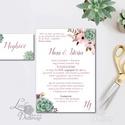 Kövirózsa Meghívó, zöld Esküvői meghívó, lila, mályva virágos, zöld leveles, levél, natúr meghívó, természetközeli, Esküvő, Naptár, képeslap, album, Meghívó, ültetőkártya, köszönőajándék, Képeslap, levélpapír, Minőségi Virágos Esküvői  Meghívó  * MEGHÍVÓ CSOMAG BORÍTÉKKAL: - 1.  Meghívó lap, egy oldalas: 10cm..., Meska