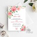 Virágos Esküvői meghívó, Virágos Esküvői lap, Esküvő Képeslap, rózsa lap,  rózsaszín meghívó, bazsarózsa, rózsás, Esküvő, Naptár, képeslap, album, Meghívó, ültetőkártya, köszönőajándék, Képeslap, levélpapír, Minőségi Virágos Esküvői  Meghívó  * MEGHÍVÓ CSOMAG: - Meghívó egy lap, egy oldalas: kb.: 14cm x 10c..., Meska