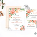 Vízfesték Virágos Esküvői meghívó, Barack Virágos Esküvői lap, Esküvő Képeslap, pink, bazsarózsa, rózsás, korall, lazac, Esküvő, Naptár, képeslap, album, Meghívó, ültetőkártya, köszönőajándék, Képeslap, levélpapír, Minőségi Virágos Esküvői  Meghívó  * MEGHÍVÓ CSOMAG BORÍTÉKKAL: - 1.  -Meghívó lap, egy oldalas: kb...., Meska