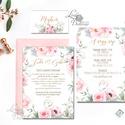 Virágos Esküvői meghívó, Rózsakert, elegáns meghívó, Barack virág, virágos meghívó, Rózsás, Rózsa, zöld, titkoskert, Esküvő, Naptár, képeslap, album, Meghívó, ültetőkártya, köszönőajándék, Képeslap, levélpapír, Minőségi Virágos Esküvői  Meghívó  * MEGHÍVÓ CSOMAG BORÍTÉKKAL: - 1.  -Meghívó lap, egy oldalas: kb...., Meska