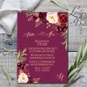 Bordó meghívó, virágos meghívó, Vintage meghívó, rózsás, bordó virágos lap, rózsa meghívó, marsala, bézs, beige, Esküvő, Naptár, képeslap, album, Meghívó, ültetőkártya, köszönőajándék, Esküvői dekoráció, Minőségi  Esküvői  Meghívó  * MEGHÍVÓ CSOMAG BORÍTÉKKAL: - Meghívó egy lap, egy oldalas: kb.: 14cm x..., Meska