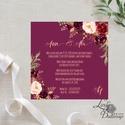 Bordó meghívó, virágos meghívó, Vintage meghívó, rózsás, bordó virágos lap, rózsa meghívó, marsala, bézs, beige, Esküvő, Naptár, képeslap, album, Meghívó, ültetőkártya, köszönőajándék, Esküvői dekoráció, Minőségi  Esküvői  Meghívó  * MEGHÍVÓ CSOMAG BORÍTÉKKAL: - Meghívó egy lap, egy oldalas: kb.: 13cm x..., Meska