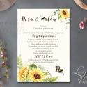Napraforgó Esküvői meghívó, Rusztikus meghívó, Bohém esküvő, Pajta esküvő, vadvirág, réti virág, sárga virágos meghívó, Esküvő, Naptár, képeslap, album, Meghívó, ültetőkártya, köszönőajándék, Képeslap, levélpapír, Minőségi Virágos Esküvői  Meghívó  * MEGHÍVÓ CSOMAG BORÍTÉKKAL! * - Meghívó lap, egy oldalas: kb. 10..., Meska