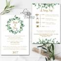 Greenery Meghívó, zöld Esküvői meghívó, eukaliptusz, silver coin, zöld leveles, levél, natúr meghívó, természetközeli, Minőségi Esküvői Virágos Meghívó  * MEGHÍV...
