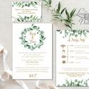 Greenery Esküvői meghívó, Levélkoszorú, Rusztikus meghívó, Natúr meghívó, erdei, natur, zöld levelek, természetközeli, Esküvő, Naptár, képeslap, album, Meghívó, ültetőkártya, köszönőajándék, Esküvői dekoráció, Minőségi Greenery Esküvői  Meghívó  * MEGHÍVÓ CSOMAG BORÍTÉKKAL: - 1.  -Meghívó lap, egy oldalas: kb..., Meska
