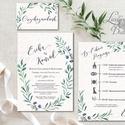 Greenery Esküvői meghívó, Levélkoszorú, Natúr meghívó, erdei, natur, zöld levelek, természetközeli, fehér virág, Esküvő, Naptár, képeslap, album, Meghívó, ültetőkártya, köszönőajándék, Esküvői dekoráció, Minőségi Greenery Esküvői  Meghívó  * MEGHÍVÓ CSOMAG BORÍTÉKKAL: - 1.  -Meghívó lap, egy oldalas: kb..., Meska