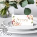 Esküvői ültetőkártya, ültető, névkártya, Rózsa, Rózsás kártya, virágos ültető, ültetésirend, virágos esküvői dekoráció, Esküvő, Naptár, képeslap, album, Meghívó, ültetőkártya, köszönőajándék, Esküvői dekoráció, Igényes, sátras, két oladalas asztali ültetőkártya  MÉRETE összehajtva: kb: 4.5x9.2cm  * SZERKESZTÉS..., Meska