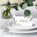 Esküvői ültetőkártya, ültető, natúr, természetközeli, greenery, ültetésirend, hely kártya, esküvői dekoráció, rusztikus, Esküvő, Naptár, képeslap, album, Meghívó, ültetőkártya, köszönőajándék, Esküvői dekoráció, Igényes, sátras, két oladalas asztali ültetőkártya  MÉRETE összehajtva: kb: 4.5x9.2cm  * SZERKESZTÉS..., Meska