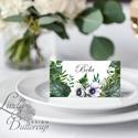 Esküvői ültetőkártya, greenery, ültető, natúr, természetközeli, ültetésirend, hely kártya, esküvői dekoráció, borostyán, Igényes, sátras, két oladalas asztali ültetők...