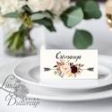 Esküvői ültetőkártya, ültető, Rózsás virágos ültetők, ültetésirend, hely kártya, név tábla, bordó, burgundy, őszi, ősz, Esküvő, Naptár, képeslap, album, Meghívó, ültetőkártya, köszönőajándék, Esküvői dekoráció, Fotó, grafika, rajz, illusztráció, Papírművészet, Igényes, sátras, két oladalas asztali ültetőkártya  MÉRETE összehajtva: kb: 4.5x9.2cm  * SZERKESZTÉ..., Meska