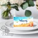 Esküvői ültető kártya, ültető, névkártya, név tábla, Esküvői dekor, dekoráció, nyári, nyár, beach, tenger, tengerpart, Esküvő, Naptár, képeslap, album, Meghívó, ültetőkártya, köszönőajándék, Esküvői dekoráció, Igényes, sátras, két oladalas asztali ültetőkártya  MÉRETE összehajtva: kb: 4.5x9.2cm  * SZERKESZTÉS..., Meska