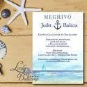 Nyári Meghívó, Tengerész meghívó, tengerész, horgony, vasmacska, tengerpart, tóparti, balaton, vitorlás hajó, homok, Esküvő, Naptár, képeslap, album, Meghívó, ültetőkártya, köszönőajándék, Képeslap, levélpapír, Fotó, grafika, rajz, illusztráció, Papírművészet, Minőségi  Esküvői  Meghívó  * MEGHÍVÓ CSOMAG BORÍTÉKKAL: - Meghívó egy lap, egy oldalas: kb.: 14cm ..., Meska