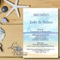 Nyári Meghívó, Balatoni esküvő meghívó, tengerész, horgony, vasmacska, tengerpart, tóparti, balaton, vitorlás, hajó, Esküvő, Naptár, képeslap, album, Meghívó, ültetőkártya, köszönőajándék, Képeslap, levélpapír, Minőségi  Esküvői  Meghívó  * MEGHÍVÓ CSOMAG BORÍTÉKKAL: - Meghívó egy lap, egy oldalas: kb.: 14cm x..., Meska