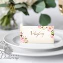 Esküvői köszönetkártya, ültető kártya, ültetők, köszönjük lap, köszönetajándék, ajándékkísérő, kék virágos, Esküvő, Meghívó, ültetőkártya, köszönőajándék, Esküvői dekoráció, Nászajándék, Igényes, sátras, két oladalas asztali ültetőkártya  MÉRETE összehajtva: kb: 4.5x9.2cm  * SZERKESZTÉS..., Meska