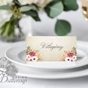 Vintage Esküvői ültetőkártya, ültető, Rusztikus, bohém, vadvirágos ültető, hely kártya, virágos esküvői dekoráció, Esküvő, Naptár, képeslap, album, Meghívó, ültetőkártya, köszönőajándék, Esküvői dekoráció, Igényes, sátras, két oldalas asztali ültetőkártya  MÉRETE összehajtva: kb: 4.5x9.2cm  * SZERKESZTÉSI..., Meska