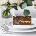 Esküvői ültetőkártya, meghívó, rusztikus, vintage wedding, Esküvői ültető, levendula, fényfüzér, pajta, Esküvő, Naptár, képeslap, album, Meghívó, ültetőkártya, köszönőajándék, Esküvői dekoráció, Igényes, sátras, két oldalas asztali ültetőkártya  MÉRETE összehajtva: kb: 4.5x9.2cm  * SZERKESZTÉSI..., Meska