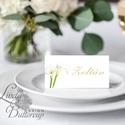 Esküvői ültetőkártya, meghívó, Zöld Virágos, Zöld Esküvői dekor, Nyári Esküvő, Kála, Esküvő, Naptár, képeslap, album, Meghívó, ültetőkártya, köszönőajándék, Esküvői dekoráció, Igényes, sátras, két oldalas asztali ültetőkártya  MÉRETE összehajtva: kb: 4.5x9.2cm  * SZERKESZTÉSI..., Meska