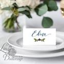 Esküvői ültető kártya, ültető, névkártya, név tábla, Esküvői dekor, dekoráció, Erdei, natúr, greenery, természetközeli, Esküvő, Naptár, képeslap, album, Meghívó, ültetőkártya, köszönőajándék, Esküvői dekoráció, Igényes, sátras, két oldalas asztali ültetőkártya  MÉRETE összehajtva: kb: 4.5x9.2cm  * SZERKESZTÉSI..., Meska