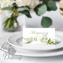 Elegáns ültetőkártya, esküvő, party kártya, dekoráció, Esküvői ültető, natúr, geometrikus, arany,  letisztult, greenery , Esküvő, Otthon & lakás, Naptár, képeslap, album, Meghívó, ültetőkártya, köszönőajándék, Esküvői dekoráció, Igényes, sátras, két oldalas asztali ültetőkártya  MÉRETE összehajtva: kb: 4.5x9.2cm  * SZERKESZTÉSI..., Meska