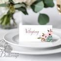 Esküvői ültető kártya, ültető, névkártya, név tábla, Esküvői dekor, dekoráció, virágos, elegáns, romantikus, vintage, Esküvő, Naptár, képeslap, album, Meghívó, ültetőkártya, köszönőajándék, Esküvői dekoráció, Igényes, sátras, két oldalas asztali ültetőkártya  MÉRETE összehajtva: kb: 4.5x9.2cm  * SZERKESZTÉSI..., Meska