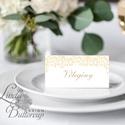 Esküvői ültető kártya, ültető, névkártya, név tábla, Esküvői dekor, dekoráció, virágos, natúr, arany, gold, leveles , Esküvő, Naptár, képeslap, album, Meghívó, ültetőkártya, köszönőajándék, Esküvői dekoráció, Igényes, sátras, két oladalas asztali ültetőkártya  MÉRETE összehajtva: kb: 4.5x9.2cm  * SZERKESZTÉS..., Meska