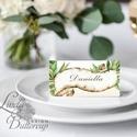 Esküvői ültető kártya, ültető, névkártya, névtábla, Esküvői dekor, dekoráció, levél, papirusz, greenery, természetközeli, Esküvő, Naptár, képeslap, album, Meghívó, ültetőkártya, köszönőajándék, Esküvői dekoráció, Igényes, sátras, két oladalas asztali ültetőkártya  MÉRETE összehajtva: kb: 4.5x9.2cm  * SZERKESZTÉS..., Meska