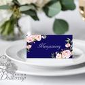 Esküvői ültető kártya, ültető, névkártya, név tábla, Esküvői dekor, dekoráció, virágos, kék, rózsás, romantikus, vintage, Esküvő, Naptár, képeslap, album, Meghívó, ültetőkártya, köszönőajándék, Esküvői dekoráció, Igényes, sátras, két oldalas asztali ültetőkártya  MÉRETE összehajtva: kb: 4.5x9.2cm  * SZERKESZTÉSI..., Meska