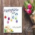 Húsvéti Képeslap, Húsvéti lap, Boldog Húsvétot, Húsvéti üdvözlőlap, Húsvéti Nyuszi, Nyúl, tojás, vicces, Boldog nyulat, Húsvéti díszek, Naptár, képeslap, album, Képeslap, levélpapír, Ajándékkísérő, A/6-os méretű Aranyos Húsvét ünnepi Nyuszis Üdvözlőlap  A lap szövege változtatható! Kérlek vásárlás..., Meska
