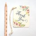 Köszönetkártya,  Rusztikus, natúr, virágos ültető, ültetésirend, hely kártya, virágos esküvői dekoráció, Esküvő, Naptár, képeslap, album, Meghívó, ültetőkártya, köszönőajándék, Esküvői dekoráció, Igényes köszönetkártya, ajándékkísérő lyukasztva szalaggal kötve  * MÉRETE: kb: 5.4 x 8 cm Más méret..., Meska