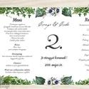 Esküvői Menü, Greenery, esküvői dekoráció, borostyán, eukaliptusz, natúr,menüsor, itallap, italok, asztalszám, menü, Esküvő, Dekoráció, Meghívó, ültetőkártya, köszönőajándék, Esküvői dekoráció, Esküvői Álló Háromszög Menü Szalaggal vagy spárgával kötve  Gyönyörű Igényes Esküvői Menükártya  3-s..., Meska