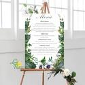 Esküvői Poszter A3, Menü, Itallap, Esküvő Dekor, Esküvői felirat, borostyán, greenery, erdei, erdő, zöld, Esküvő, Dekoráció, Esküvői dekoráció, Kép, A3 Esküvői PAPÍR POSZTER  MÉRET: A3: (297x420mm) (Maximum méret amit nyomtatni tudunk: A2 (420x594mm..., Meska