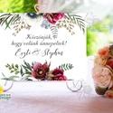 Esküvői Felirat A4, Köszöntő, Üdvözlő, Esküvő Dekor, Esküvői felirat, bordó, burgundy, őszi, rózsa, welcome, Esküvő, Dekoráció, Esküvői dekoráció, Kép, A4 Esküvői PAPÍR KÉP /  Akasztós vagy Keretbe  MÉRET: A4: (210x297mm)  KIVITELEZÉS:  Lekerekített sa..., Meska