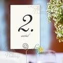 Asztalszám kártya, Ültetési rend, Dekoráció, kellék, Esküvői lap, Esküvő Dekor, Esküvői felirat, kártya, desszert, Esküvő, Dekoráció, Esküvői dekoráció, Kép, 10x15 cm-es ASZTALSZÁM Esküvői kártya / Lap.  Standard álló képkeretbe, asztalra.  (A képen a tartó ..., Meska