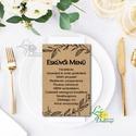 Natúr Barna Menü, Asztalszám, kraft, spárga, Itallap, Esküvői lap, Esküvői menü, rózsaszín menü, Party menü, rusztikus, Esküvő, Naptár, képeslap, album, Meghívó, ültetőkártya, köszönőajándék, Esküvői dekoráció, Esküvői Menü   Egy lapos / 1oldalas MÉRETE: 10x15cm  Szerkesztési költség 2000 Ft Az egyszeri szerke..., Meska