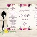Esküvői Menü, Rusztikus esküvői dekoráció, bordó, arany, rózsa, burgundy menüsor, itallap, italok, asztalszám, őszirózsa, Esküvő, Dekoráció, Meghívó, ültetőkártya, köszönőajándék, Esküvői dekoráció, Esküvői Virágos Álló Háromszög Menü Szalaggal  Esküvői Menükártya Álló 3szög forma, 1 oldal: 20x9,5c..., Meska