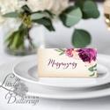 Esküvői ültetőkártya, ültető, Rózsa, Rózsás kártya, virágos ültető, ültetésirend, burgundy, virágos, hortenzia, Esküvő, Naptár, képeslap, album, Meghívó, ültetőkártya, köszönőajándék, Esküvői dekoráció, Igényes, sátras, két oladalas asztali ültetőkártya  MÉRETE összehajtva: kb: 4.5x9.2cm  * SZERKESZTÉS..., Meska