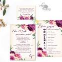 Bordó Esküvői meghívó, Burgundy, Őszi Rózsás meghívó, rózsa, elegáns, romantikus, virágos, őszi meghívó, padlizsán, Esküvő, Naptár, képeslap, album, Meghívó, ültetőkártya, köszönőajándék, Képeslap, levélpapír, Minőségi Virágos Esküvői  Meghívó  * MEGHÍVÓ CSOMAG BORÍTÉKKAL: - 1.  -Meghívó lap, egy oldalas: kb...., Meska
