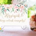 Esküvői Felirat A4, Köszöntő, Üdvözlő, Esküvői felirat, rózsa, welcome, idézet, vers, virágos, Esküvő, Dekoráció, Esküvői dekoráció, Kép, A4 Esküvői PAPÍR KÉP /  Akasztós vagy Keretbe  MÉRET: A4: (210x297mm)  KIVITELEZÉS:  Lekerekített sa..., Meska