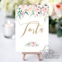 Asztalszám kártya, Torta felirat, desszert asztal, Dekoráció, Esküvői lap, Esküvő Dekor, Esküvői felirat, Esküvő, Dekoráció, Esküvői dekoráció, Kép, 10x15 cm-es ASZTALSZÁM Esküvői kártya / Lap.  Standard álló képkeretbe, asztalra.  (A képen a tartó ..., Meska