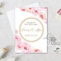 Virágos Esküvői meghívó, Virágos Esküvői lap, Esküvő Képeslap, virágkoszorú, pink, bazsarózsa, rózsás, kör, logó, Esküvő, Naptár, képeslap, album, Meghívó, ültetőkártya, köszönőajándék, Képeslap, levélpapír, Minőségi Virágos Esküvői  Meghívó  * MEGHÍVÓ CSOMAG: - Meghívó egy lap, egy oldalas: kb.: 14cm x 10c..., Meska
