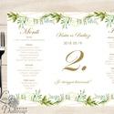 Esküvői Menü, menüsor, itallap, italok, asztalszám, greenery, zöld leveles, természetközeli, borostyán, eukaliptusz, Esküvő, Dekoráció, Meghívó, ültetőkártya, köszönőajándék, Esküvői dekoráció, Esküvői Virágos Álló Háromszög Menü Szalaggal  Esküvői Menükártya Álló 3szög forma, 1 oldal: 20x9,5c..., Meska