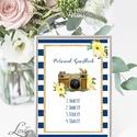 Polaroid fotó Esküvői Felirat A4, fénykép, fotó albumhoz, Esküvői kép, Esküvő Dekor, Esküvői felirat, csikos, kék-fehér, Esküvő, Dekoráció, Esküvői dekoráció, Kép, A/4-es Esküvői Felirat Dekoráció, bármilyen szöveggel, keret nélkül.  Bármilyen feliratot kérhetsz r..., Meska