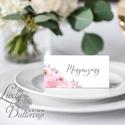 Ültetőkártya, ültető, névkártya, rózsaszín Esküvői ültető, virágos, pink, tavaszi esküvő, nyári, romantikus, Esküvő, Naptár, képeslap, album, Meghívó, ültetőkártya, köszönőajándék, Esküvői dekoráció, Igényes, sátras, két oladalas asztali ültetőkártya  MÉRETE összehajtva: kb: 4.5x9.2cm  * SZERKESZTÉS..., Meska