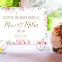 Esküvői Felirat A4, Köszöntő, Üdvözlő, idézet, virágos, rózsaszín, természetközeli, természetbarát, romantikus, Esküvő, Dekoráció, Esküvői dekoráció, Kép, A4 Esküvői PAPÍR KÉP /  Akasztós vagy Keretbe  MÉRET: A4: (210x297mm)  KIVITELEZÉS:  Lekerekített sa..., Meska