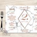 Esküvői Menü, menüsor, itallap, italok, asztalszám, marble, márvány, geometrikus formák, krém, gold, rombusz, Esküvő, Dekoráció, Meghívó, ültetőkártya, köszönőajándék, Esküvői dekoráció, Esküvői Geometrikus Álló Háromszög Menü Szalaggal  Esküvői Menükártya Álló 3szög forma, 1 oldal: 20x..., Meska