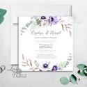 Lila virágos meghívó, esküvői meghívó, romantikus, virágos lap, nyugalmas, természetközeli, természetbarát, lila, Esküvő, Naptár, képeslap, album, Meghívó, ültetőkártya, köszönőajándék, Esküvői dekoráció, Minőségi  Esküvői  Meghívó  * MEGHÍVÓ CSOMAG BORÍTÉKKAL: - Meghívó egy lap, egy oldalas: kb.: 13cm x..., Meska