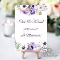 Esküvői felirat, Férj és feleség felirat, asztalszám, desszert asztal, Dekoráció, Esküvői lap, Esküvő Dekor, lila, virág, Esküvő, Dekoráció, Esküvői dekoráció, Kép, 10x15 cm-es esküvői felirat Esküvői kártya / Lap.  Standard álló képkeretbe, asztalra.  VÁSÁRLÁSKOR ..., Meska